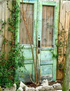 Green Cottage Doors 5x7 Photo Signed & Matted, Cottage Photography, Cottage Chic, Shabby and Chic, Rustic Farmhouse, Gate. $13.00, via Etsy.