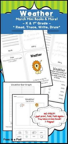 """Learning about weather has never been so much fun! Your little meteorologists will love graphing and keeping track of the """"lion & lamb"""" weather of March! for preschool, kindergarten, & first grade Includes: graphing, sorting, & writing activities"""