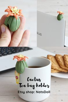 The tea holder was made by me with polymer clay. I think it will be a great gift for Cactus or tea lovers. The cactus can be used not only as a tea bag holder, but also as a laptop decor. Cool Gifts, Diy Gifts, Unique Gifts, Handmade Gifts, Diy Clay, Clay Crafts, Tea Holder, Baking Clay, Air Dry Clay