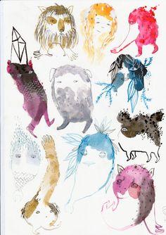 emma kidd - gouache + pencil - monsters