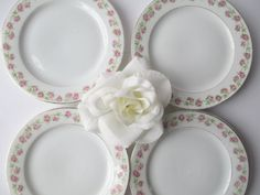 Antique Jaeger Bavarian Pink Rose Bread & Butter by thechinagirl