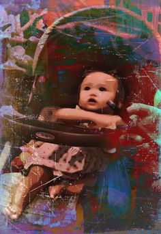 Baby girl in MRT. Infants and children are one of my favorite photo shoots. I often wonder what their world is like, say at 2 ft tall, from a pram, in times of war. Digital photo was edited with layers.
