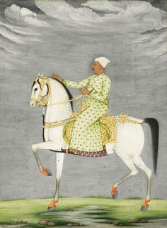 "robert-hadley: ""An equestrian portrait of a Nawab riding a grey stallion, signed by Muhammad Reza-i Hindi, Mughal, possibly Oudh, dated 1177 AD "" Mughal Miniature Paintings, Mughal Paintings, Indian Paintings, Chinoiserie, India Art, India India, Iranian Art, Native American Art, Native Art"