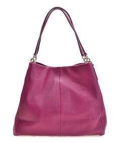 Look at this #zulilyfind! Fuchsia Phoebe Leather Shoulder Bag #zulilyfinds