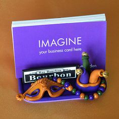 New Orleans Mardi Gras Polymer Clay Business Card Holder