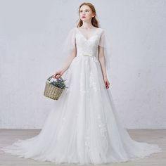 Ivory White Beaded Cap Sleeve Modern Floral Wedding Bridal Gown Dress SKU-119003