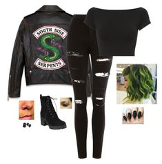 A fashion look from November 2017 featuring crop tops, stretch skinny jeans and black booties. Browse and shop related looks. Cute Emo Outfits, Bad Girl Outfits, Komplette Outfits, Themed Outfits, Teen Fashion Outfits, Teenager Outfits, Grunge Outfits, Outfits For Teens, Batman Outfits