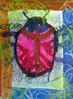 mixed media beetle..maybe do this with tissue paper leaves instead.