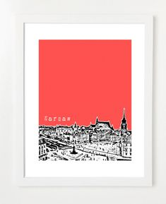 Warsaw Poland Skyline Poster  City Skyline by BugsyAndSprite, $20.00