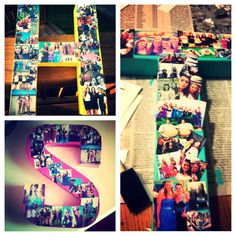 Awesome best friend gifts!!! Take their first letter of their name, paint it their favorite color, then glue pictures of you and your Besty! So easy to do and is a great gift if your on a budget #dorm #decor #bestfriends