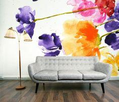 Watercolor mural - Watercolor Design Style for Your Home - Watercolor Wallpaper, Watercolor Design, Wall Wallpaper, Floral Watercolor, Watercolor Walls, Custom Wallpaper, Flower Wallpaper, Lavender Walls, Flower Mural