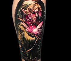 Zelda, 3 color cartoon tattoo style done by tattoo artist Victor Zetall Cool Tattoos, Geek Tattoos, Tatoos, Legend Of Zelda Tattoos, Nintendo Tattoo, Cartoon Tattoos, World Tattoo, Sleeve Tattoos For Women, Tattoos Gallery