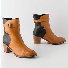 Samantha Pleet for Anthropologie boots. Samantha Pleet exclusive boots. Two tone Black and Tan. Great condition. Anthropologie Shoes Heeled Boots