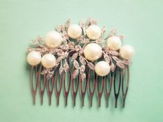 Bridal Hair Comb White Pearl Silver Comb Rhinestone by Jewelsalem,  This is just perfect. I like it the best for you. It really matches your dress and look. :)
