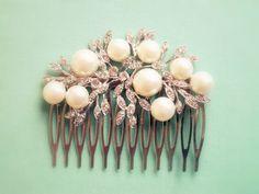 Bridal Hair Comb White Pearl Silver Comb Rhinestone Vintage Inspired Wedding Bride Soft Romantic Bridesmaid Maid of Honor Gift
