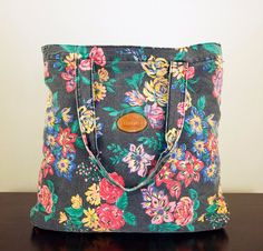 Vtg 90s Floral Print Washed Out Denim Tote Bag