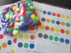 Learn about colors with these pom-pom color sheets (great for preschoolers and toddlers).