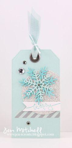 Christmas Gift Tag, Tis the Season, snowflakes, washi tape, gift tag, seam binding ribbon, retro sketches, jen-icreate.blogspot.com