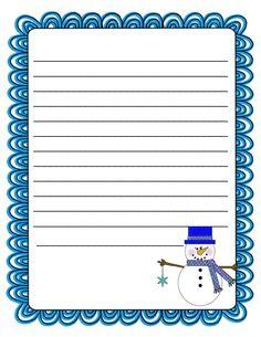 Literacy Minute: Snowman Writing Paper Freebie