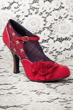 Ruby Shoo - 50s Ashley Ankle Strap Pumps in Red