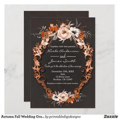 Autumn Fall Wedding Orange Floral Flowers Elegant Invitation Card Invitation, Flower Invitation, Elegant Wedding Invitations, Invitation Ideas, Unique Invitations, Invites, Chic Bridal Showers, Bridal Shower Cards, Bridal Shower Invitations