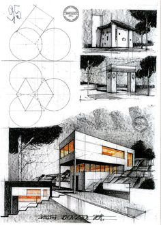 Another house by the romanian architect Horia Creanga House by Arh. Architecture Concept Drawings, Paper Architecture, Watercolor Architecture, Architecture Sketchbook, Architecture Student, Architecture Details, Landscape Architecture, Interior Architecture, Conceptual Drawing