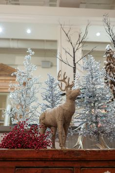Mecox Houston holiday deer display! #interiordesign #reindeer #winter