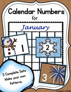 This product contains 3 complete sets of printable calendar numbers appropriate for the month of January.