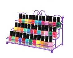 Table Top Metal Organizer Nail Polish Rack 3 Tier Display Storage Small Bottles Purple Store your bottles of nail polish and makeup in style with this amazing Table Top Metal Organizer Nail Polish Display Rack! The lovely scrollwork design and classic painted finish on this sturdy metal storage rack helps bring both eye-catching style and sensible storage to your home or salon, and the 3 tiers (each with a metal railing) allow you to store your nail polish and makeup while also keeping them…