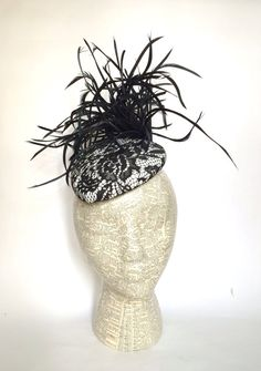 Black and white lace teardrop feather by EstesMillineryHats Facinator Hats, Fascinator, White Lace, Black And White, Goose Feathers, White Fabrics, Black Satin, Outfit, Handmade