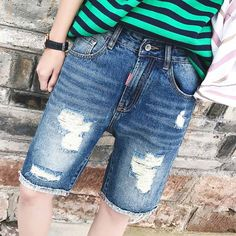 22.76$  Buy here - http://ali6nh.shopchina.info/go.php?t=32809136994 - Summer 2017 New Arrival Men's Fashion Hole Leisure Straight Jean Shorts Breathable Men's Knee Length Casual Denim Shorts   #aliexpress