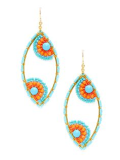 Love these colors together & these are super cute earrings! Turquoise Coral Oval Drop Earrings by Miguel Ases at Gilt Seed Bead Jewelry, Seed Bead Earrings, Wire Jewelry, Beaded Earrings, Earrings Handmade, Beaded Jewelry, Handmade Jewelry, Jewellery, Turquoise Earrings