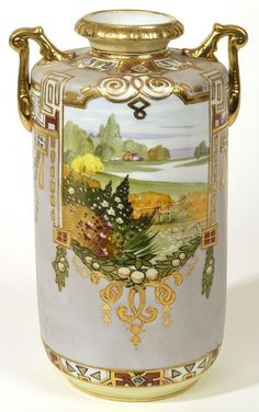 nipon vases | Nippon Scenic Vase | Nippon Porcelain