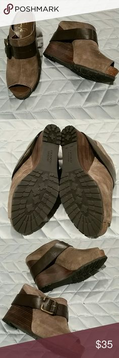 NWOT. Franco Sarto Wedge. Size 8.5M  Brown Suede Can be worn with back strap up or dow.  New, never worn. Comfy with wedge support. Franco Sarto Shoes Wedges