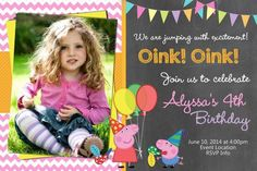 peppa pig invitations with picture