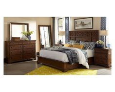 Bon 6 Piece Queen Bedroom Set In Distressed Brown   Sam Levitz Furniture