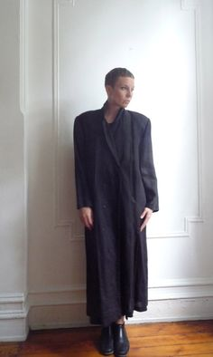 80s Black Linen Duster Coat