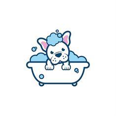 Dog Bathtub Wash Logo Design   Pet Logo   Branding   Puppy Dog   French Bulldog Illustration