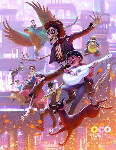 Coco Pixar Fan art, Hector, Miguel Riviera, Dante