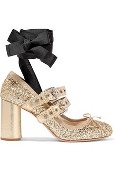 b6393c25d80d Shop on-sale MIU MIU Lace-up glittered leather pumps. Browse other discount  designer Mid Heel Pumps   more on The Most Fashionable Fashion Outlet