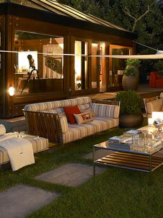 Fendi Outdoor Capri teak sofa and coffee table creates magical atmosphere in your garden. #night #romantic #cottage