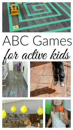 These alphabet games are perfect for active kids! Great activites for practicing letters and sounds with preschoolers.