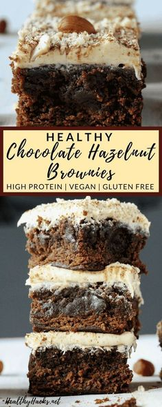 This healthy dessert recipe will turn you off boxed brownie mixes forever!This healthy dessert recipe will turn you off boxed brownie mixes forever! Make these delicious treats from scratch for a nutritious treat that tastes like Nutella br Vegan Sweets, Healthy Dessert Recipes, Healthy Baking, Healthy Desserts, Just Desserts, Delicious Desserts, Yummy Food, Homemade Desserts, Summer Desserts