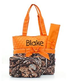 Personalized Diaper Bag Set  Camo and Orange by MauriceMonograms, $37.00