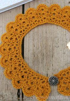 Beautiful detachable crochet peter pan collar using Lulu loves free tutorial! I'm making mine in powder blue Debbie Bliss silk yarn :)