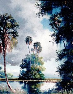 Sam Newton Watercolor Landscape, Landscape Paintings, Watercolor Art, Bob Marley Painting, Selling Paintings, Vintage Florida, Tropical Art, Sky And Clouds, Contemporary Landscape