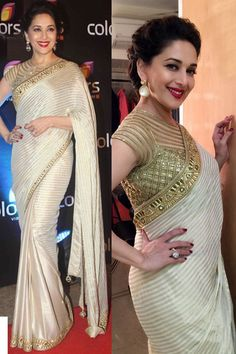 Madhuri Rim Jhim With Superb Quality Gread Golden Blouse Designs, Bridal Blouse Designs, Bollywood Outfits, Bollywood Saree, Party Wear Sarees Online, Saree Blouse Neck Designs, Elegant Fashion Wear, Designer Blouse Patterns, Indian Bridal Wear