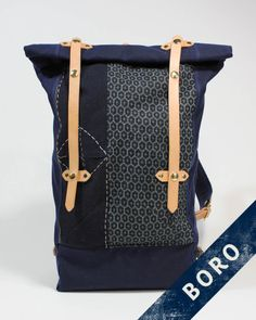 KIRIKO X SKETCHBOOK BORO RUCKSACK Mix of Vintage(80~100 years old) Boro Fabric from Japan, Indigo Wax Canvas and Leather Hand Sewn in Eugene, OR