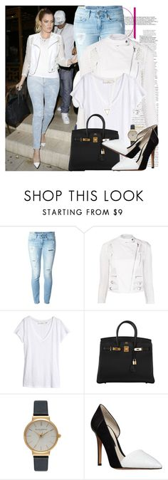 """""""trust me you get what you give"""" by theodoresquei ❤ liked on Polyvore featuring Yigal AzrouÃ«l, Dondup, H&M, Hermès, Olivia Burton and Steve Madden"""