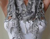 Light Grey Scarf  with Light Grey Trim Edge Shaped Leaves - Summer Trend